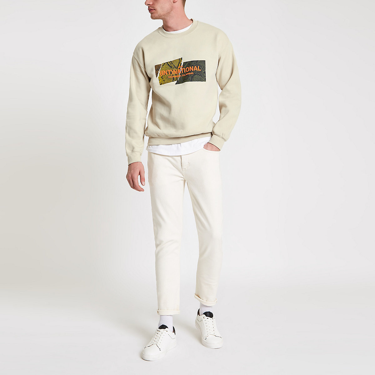 Stone 'international' crew neck sweatshirt