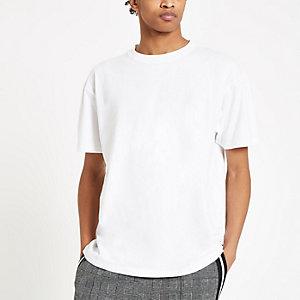 T-shirt oversize blanc à manches courtes