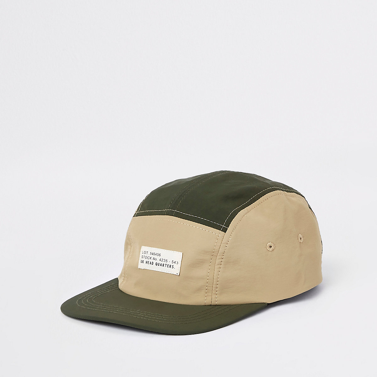 Green panel peak cap