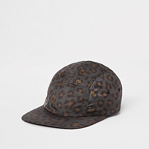 Charcoal leopard print five panel cap
