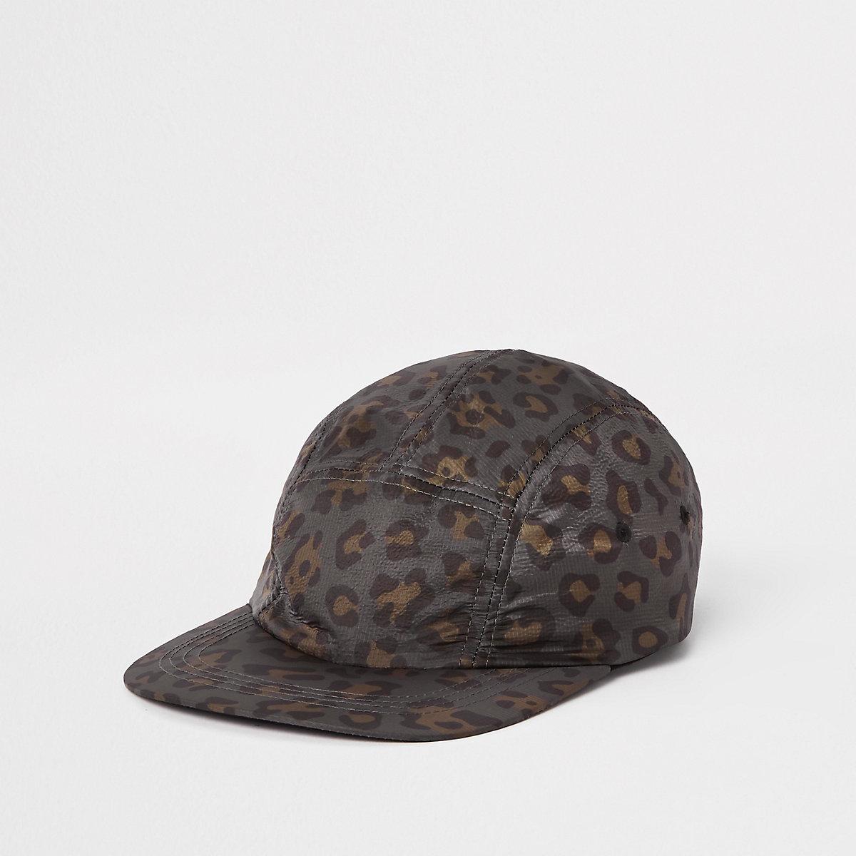 Charcoal leopard print cap