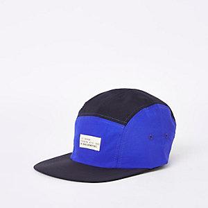 Blue colour block stitched snapback cap