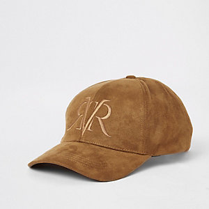 Brown 'RVR'  faux suede cap