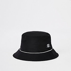 Black piped reversible bucket hat