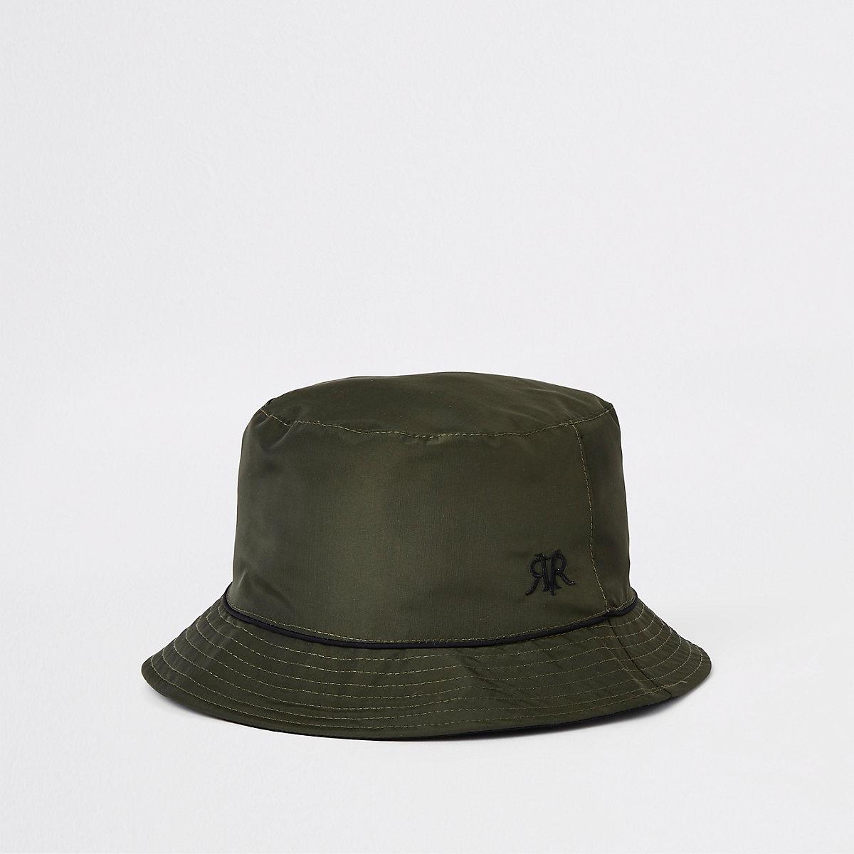Khaki piped reversible bucket hat