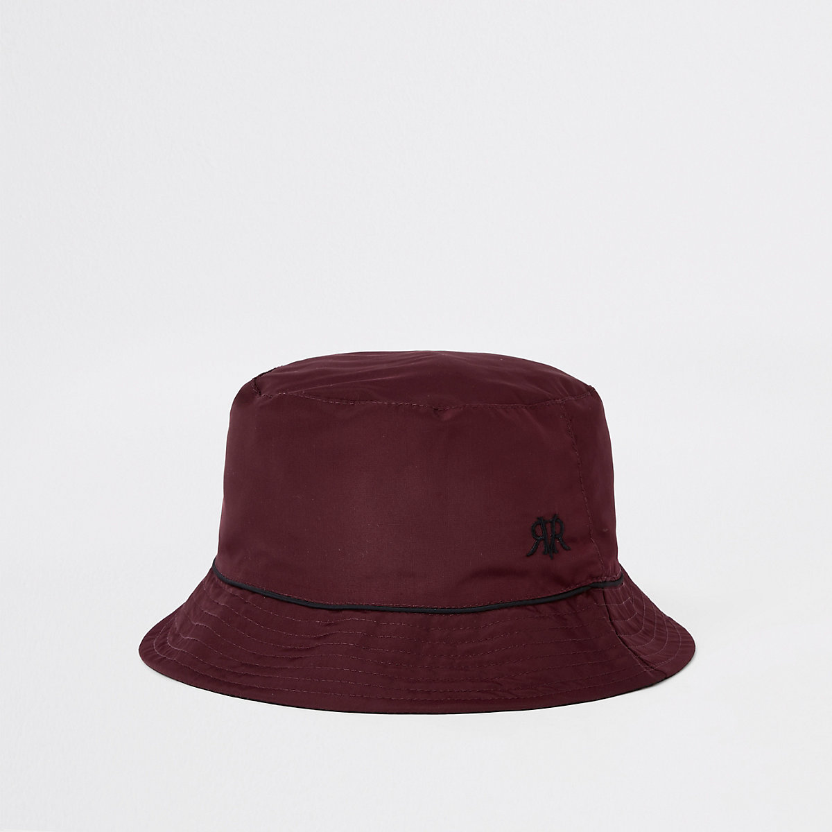 Burgundy piped reversible bucket hat