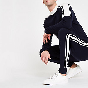 Navy slim fit tape knit joggers
