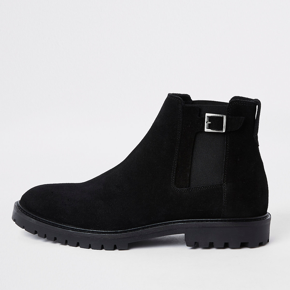 Black suede sprayed toe chelsea boots