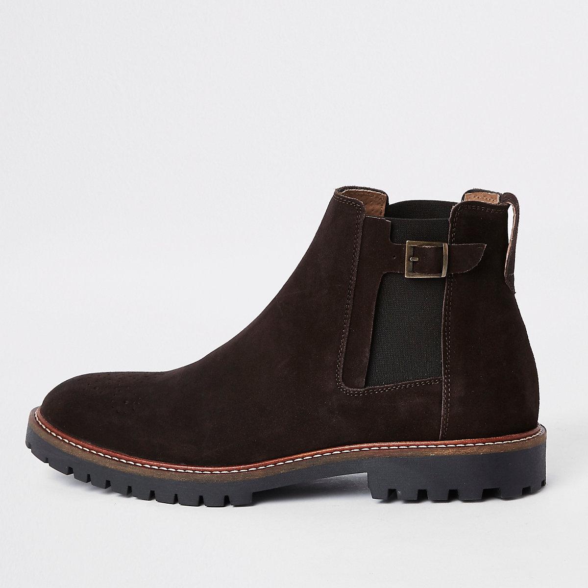 Dark brown suede sprayed toe chelsea boots