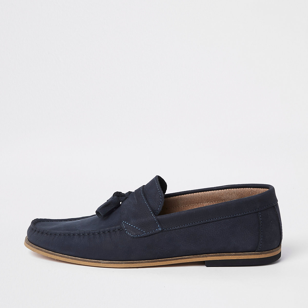 Navy tumbled leather tassel loafers