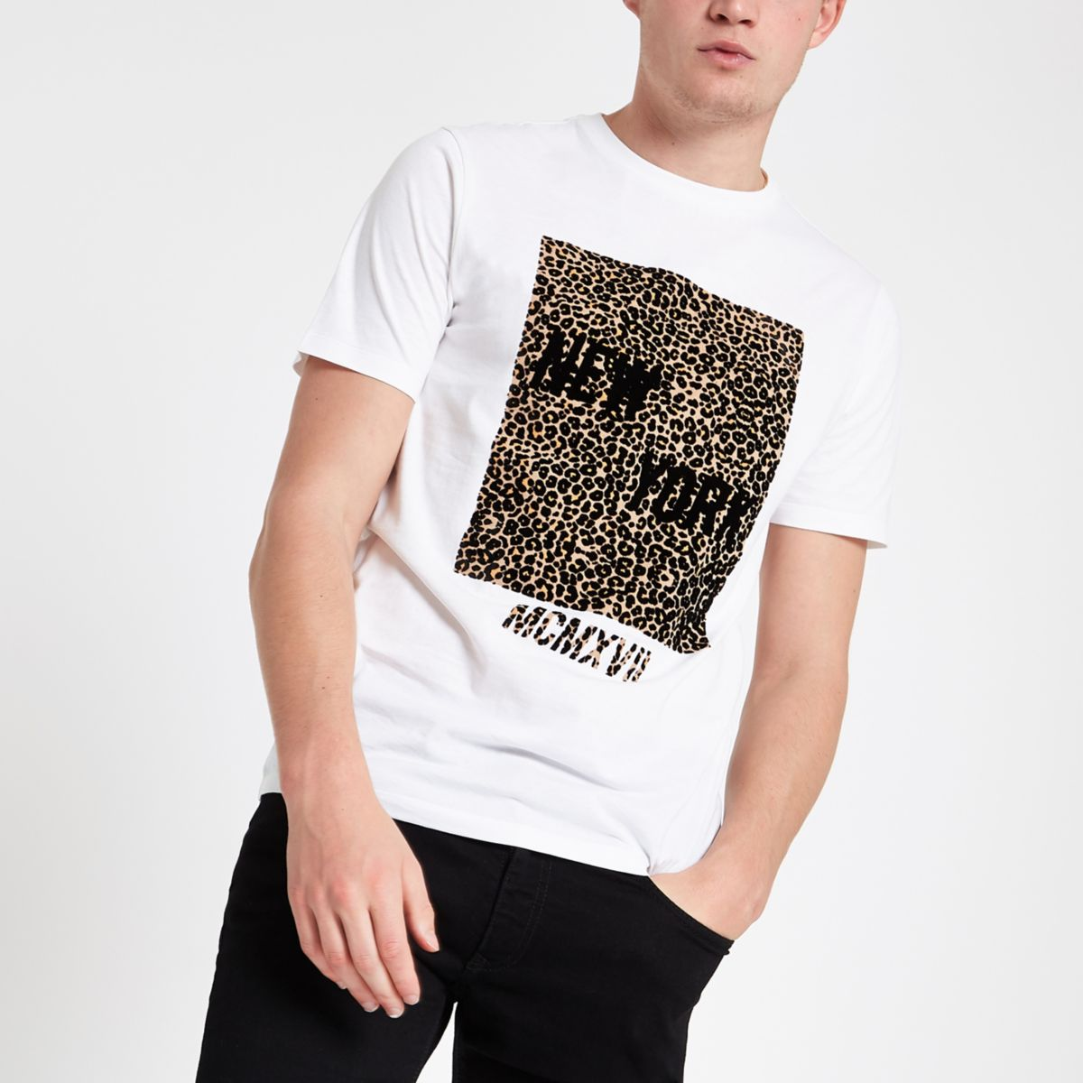 c2eda96ad621 White slim fit leopard print box T-shirt - T-shirts - T-Shirts & Vests - men