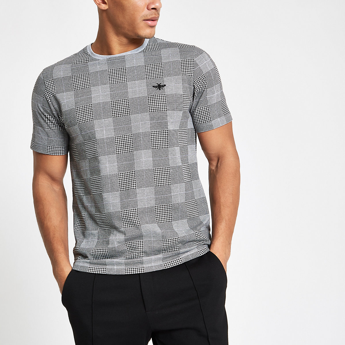 Grey marl check slim fit T-shirt