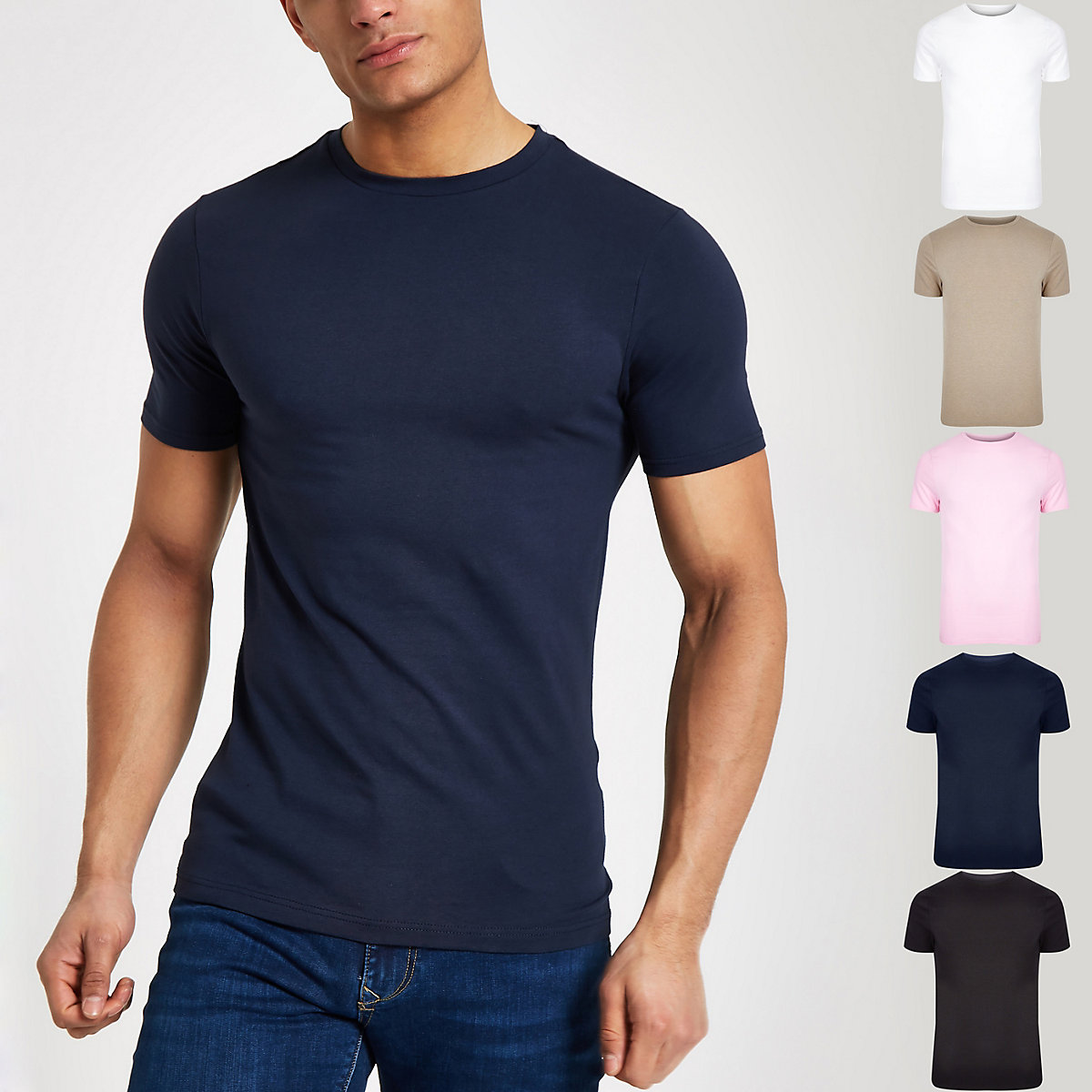 Multicolored muscle fit T-shirt 5 pack