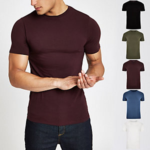 Dark red muscle fit T-shirt multipack