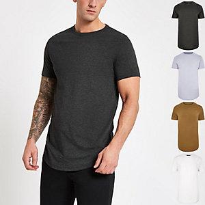 Multicoloured curved hem T-shirt 5 pack