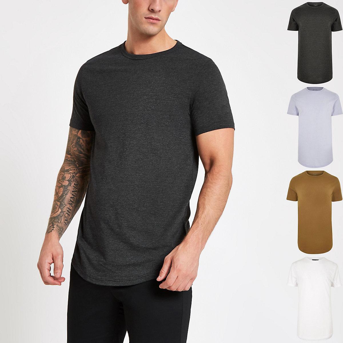 Black curved hem T-shirt multipack