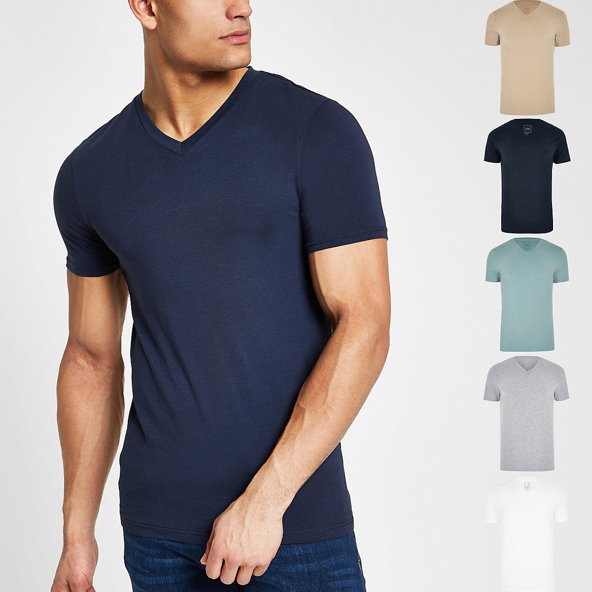 Navy muscle fit V neck  T-shirt multipack