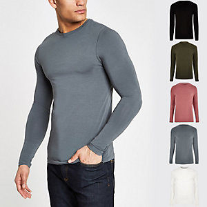 Grey muscle fit long sleeve T-shirt multipack