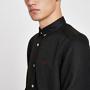 Dark grey wasp embroidered long sleeve shirt