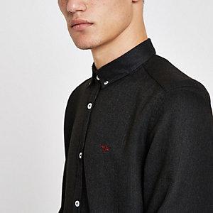 Donkergrijs overhemd met lange mouwen en geborduurde wesp