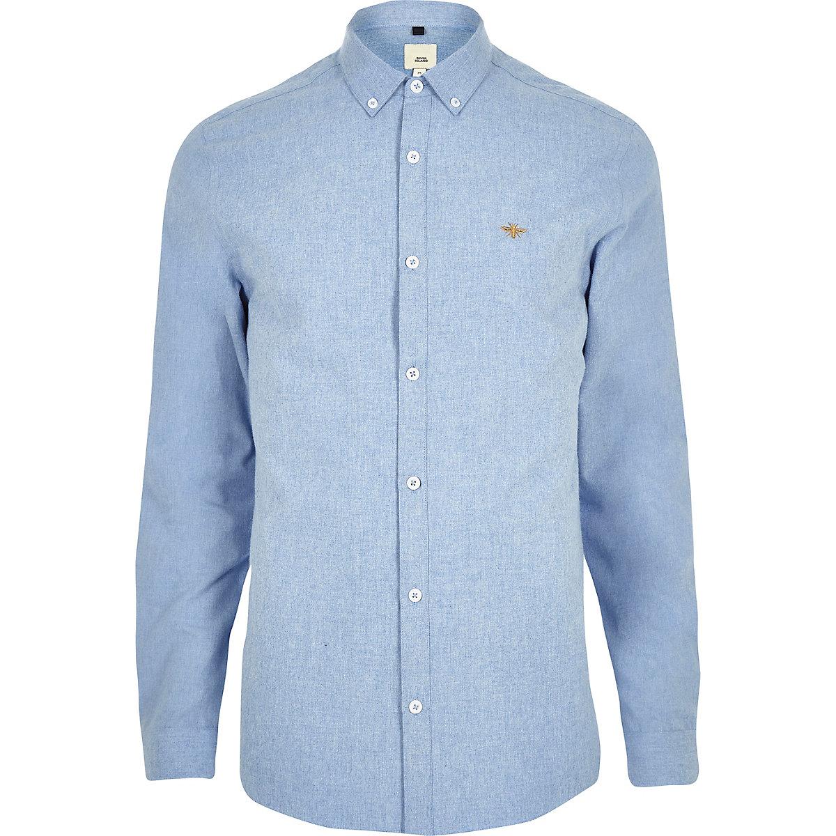Light Blue Wasp Embroidered Long Sleeve Shirt Long Sleeve Shirts
