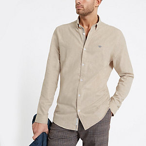 T-shirt manches longues grège avec motif guêpe brodé