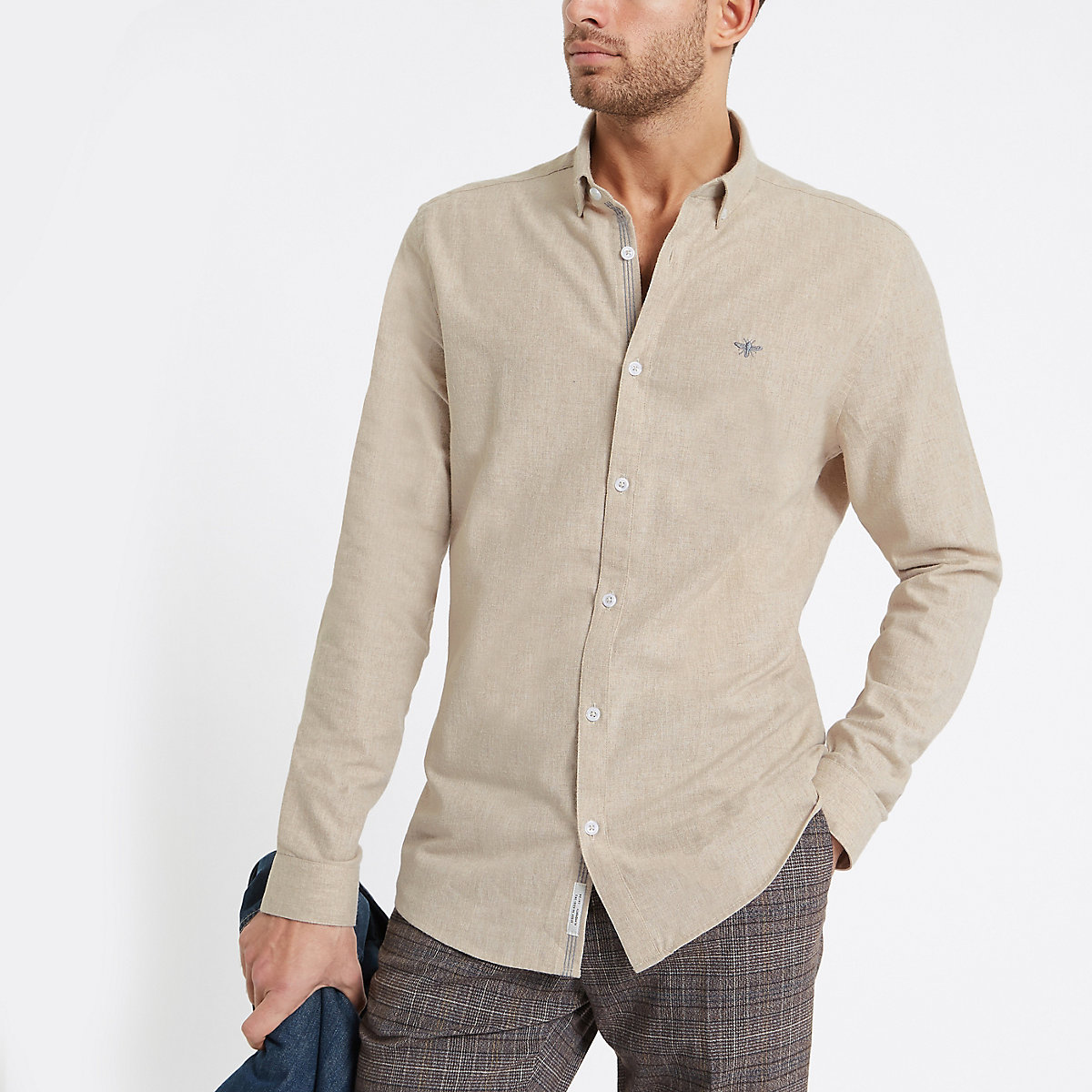 Stone wasp embroidered long sleeve shirt