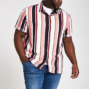 Big & Tall - Ecru gestreept overhemd met korte mouwen