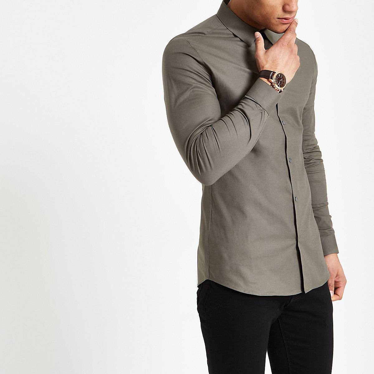 Green poplin muscle fit long sleeve shirt