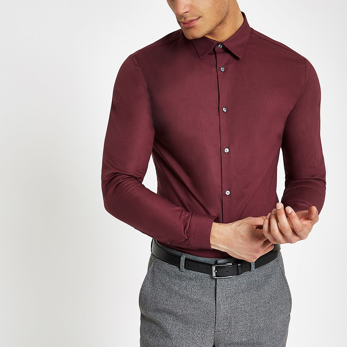 Burgundy muscle fit long sleeve shirt