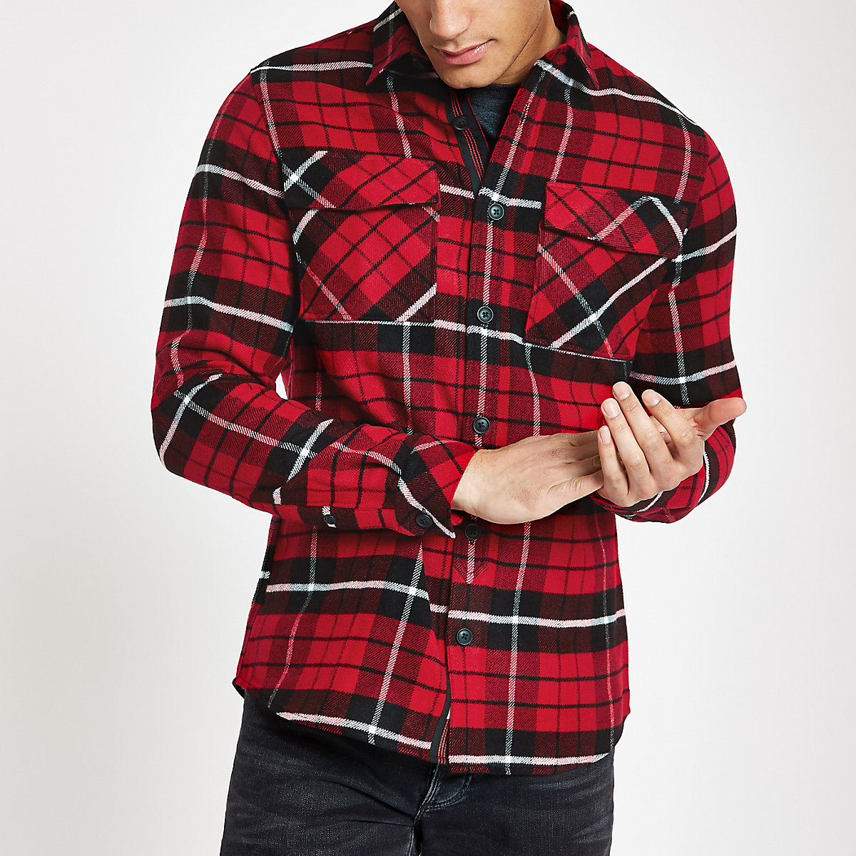 Red check long sleeve over shirt