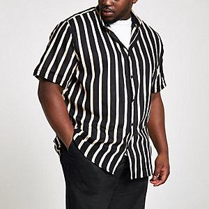Big & Tall – Schwarzes, gestreiftes Kurzarmhemd