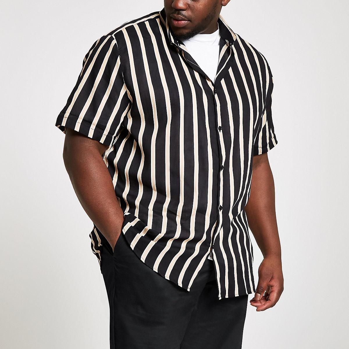 87fa0c8e76b2 Big and Tall black stripe short sleeve shirt - Short Sleeve Shirts - Shirts  - men
