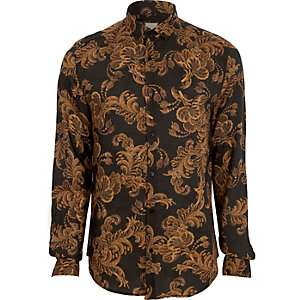 Big and Tall black baroque long sleeve shirt