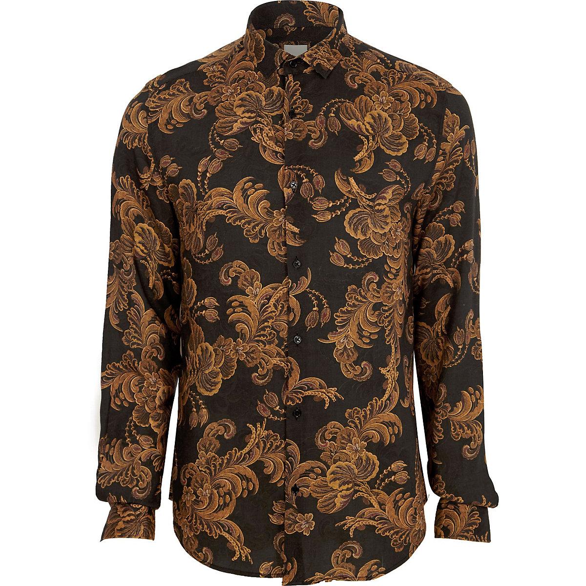 Big and Tall black baroque long sleeve shirt