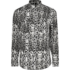 Big and Tall grey snake long sleeve shirt