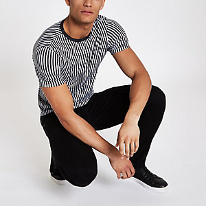 Black vertical stripe muscle fit T-shirt
