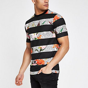 Black floral leopard stripe slim fit T-shirt