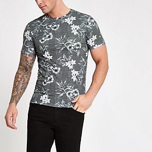 Graues, kariertes Slim Fit T-Shirt
