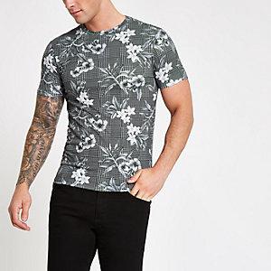 T-shirt slim à carreaux et fleurs gris