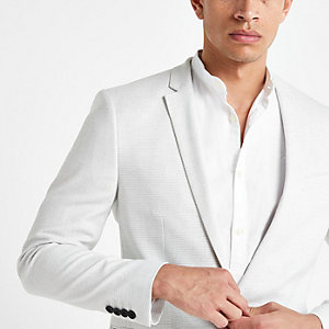 Blazer skinny texturé gris clair