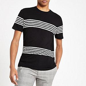 Zwart gestreept slim-fit T-shirt met ronde hals