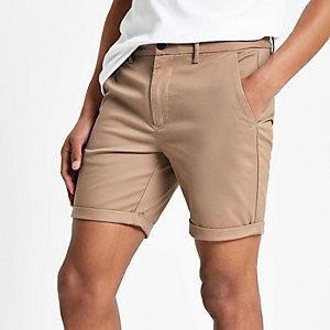 Light brown skinny chino shorts