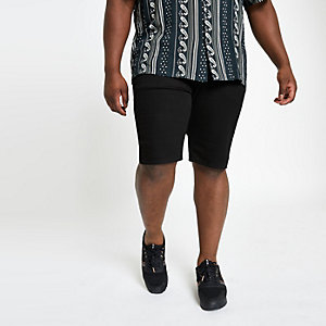 Big and Tall black skinny fit shorts