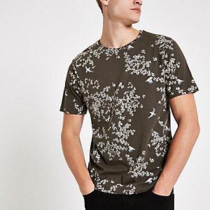 Bellfield – Khaki T-Shirt mit Printmix