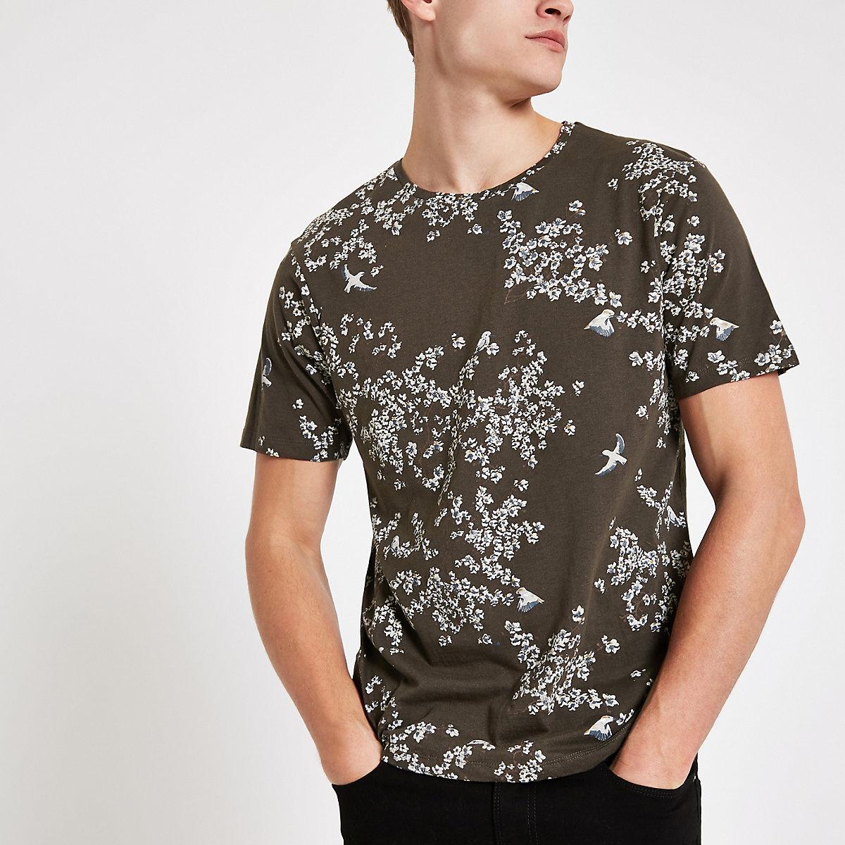 Bellfield khaki mixed print T-shirt