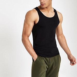 Schwarzes Muscle Fit Trägertop mit U-Ausschnitt