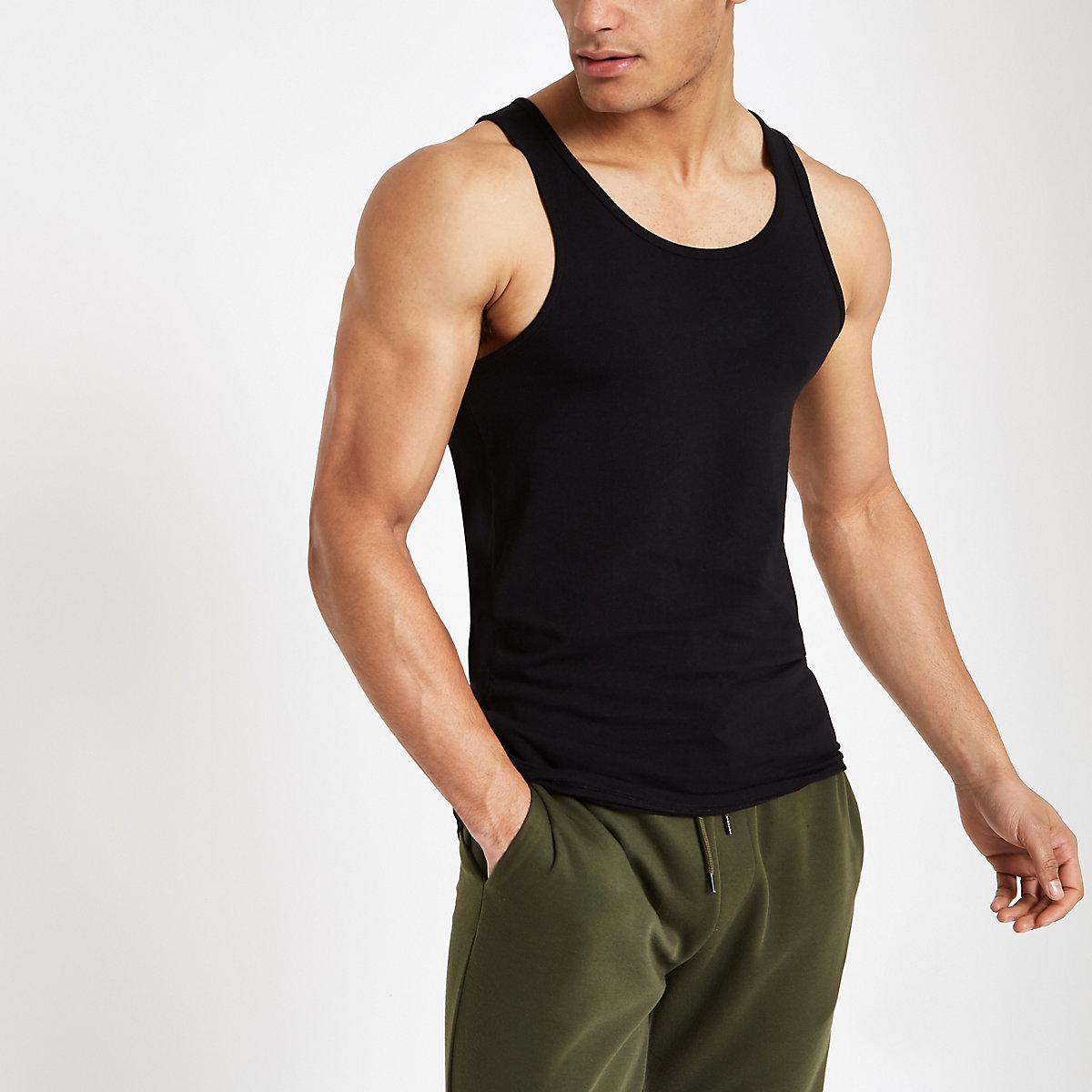 Black muscle fit scoop neck tank