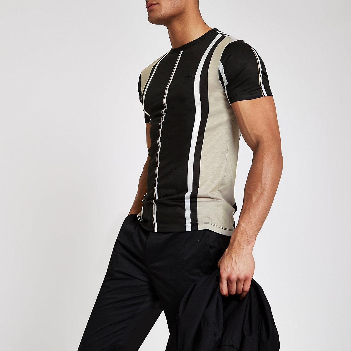 T-shirt ajusté rayé noir à col ras-du-cou