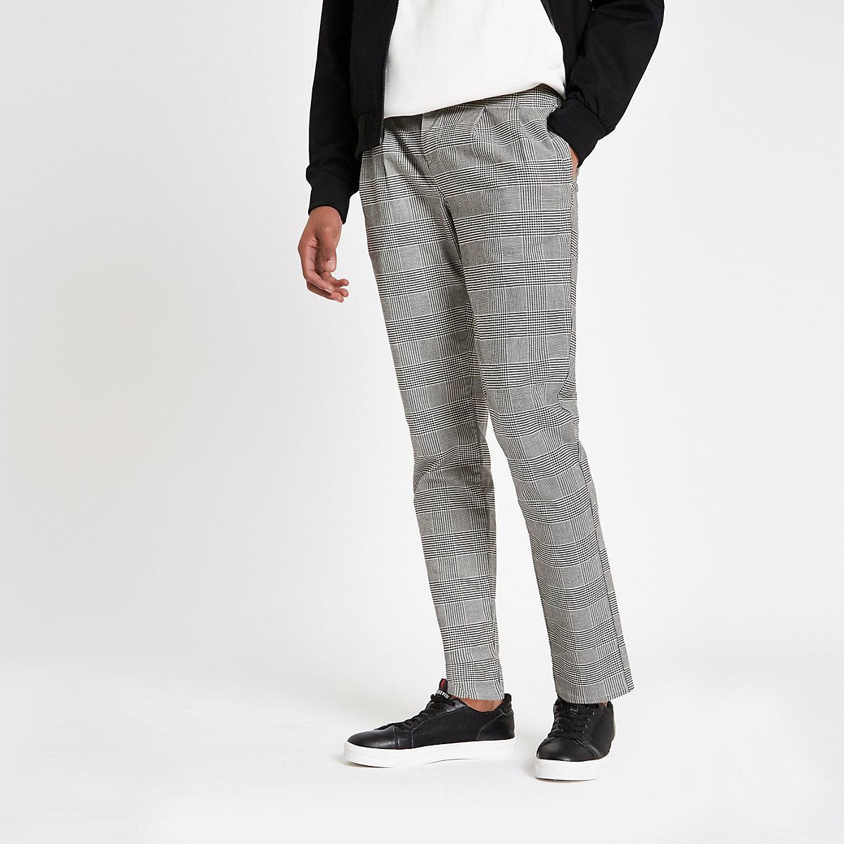 Grey check tapered pants
